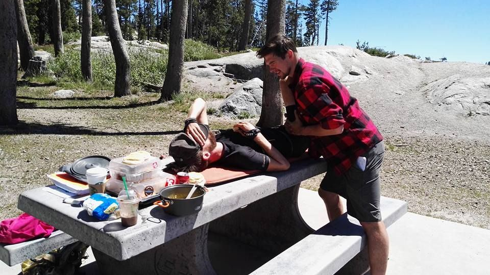Sleeping pad, picnic table, some good ‪#‎physio‬ and an elite athlete. It is time for a break at the PCT for Karel
