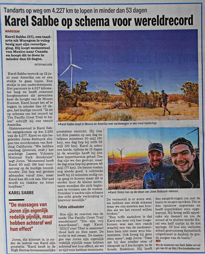 Krant het Nieuwsblad: karel Sabbe op koers voor wereldrecord